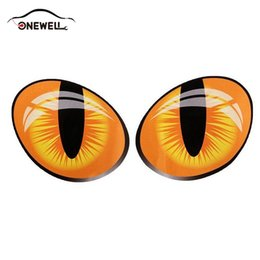 decalques engraçados do caminhão adesivos Desconto ONEWELL 3D Engraçado Reflexivo Olhos de Gato Adesivos de Carro Truck Cabeça Do Motor Espelho Retrovisor Tampa Da Janela Porta Decalque Gráficos