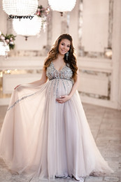 white cotton prom dresses Promo Codes - Sequin Maternity Prom Dresses Baby Shower Gowns with Tulle Skirt A-line Sleeveless V-neck Tulle Evening Party Gowns