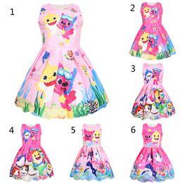 vestidos estilo princesa para niñas Rebajas 12 muchachas del estilo del bebé del tiburón visten los niños encantadores de la princesa del tiburón de la historieta vestidos de fiesta falda de noche de los niños ropa B
