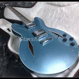 2019 nova venda quente semi corpo oco pomba e-335 guitarra elétrica de metal azul conjunto na articulação supplier blue hollow guitars de Fornecedores de guitarras azuis ocos