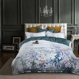 Baumwoll-blumen-bettdecke online-Europäische ägyptische Baumwolle Bettwäsche weichen Satin Bettwäsche Blumen pastoralen Bettbezug Kissenbezüge Tagesdecken 4er-Sets