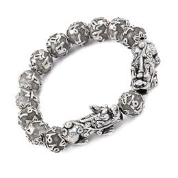 Suerte feng shui online-Antique Silver Wealth Pixiu pulsera Six Word Mantra Beads Buddha Pulsera Feng Shui Luck Jewelry