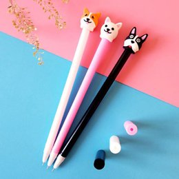 4 Pcs set Kawaii Animal Puppy Dog Gel Pens Cute Korean Stationery 0.5mm Black Ink Student Signature Pens Office School Supplies cheap cute animal pens de Fornecedores de canetas de animais bonitos