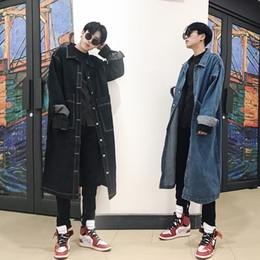 2019 мальчики весеннее пальто Мода Весна новых людей пальто Denim Сыпучего Большого размер Шинель Boys Blue Black Outwear Кнопка дешево мальчики весеннее пальто