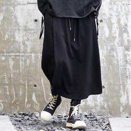 Hombres de moda causal de pierna ancha pantalón estilo japón negro falda  harén pantalones streetwear hip hop gótico suelto masculino kimono pantalón  Ofertas ... 73d4f99c532