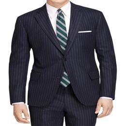 blaue silberne gestreifte krawatte Rabatt Marineblau Streifen Männer Anzüge 2019 Maßgeschneiderte Herren Einreiher Gestreiften Männer Smoking Für Formale Party Prom (jacke + Pants + Tie)