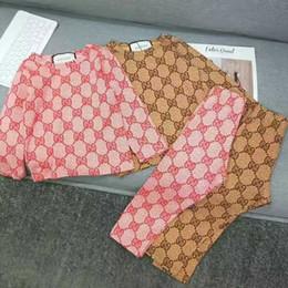 Menino de pijama on-line-115865 Conjunto de Roupas de Bebê Menino Meninas Bonito Camiseta de Impressão e Calças Longas E bandana 3 pcs Verão outono Roupas Conjunto de desgaste em casa pijama terno