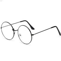 occhiali lenti a occhio chiaro Sconti Nuovo classico telaio rotondo in metallo con lenti chiare Occhiali da sole vintage telaio Harajuku Uomini e donne Occhiali cornice decorativa 5 colori