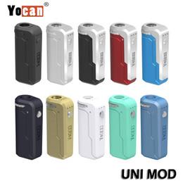 Autentica Yocan UNI Mod Mod Box Box universale per tutta la larghezza di cartucce / atomizzatori Preriscaldamento Voltage regolabile Vape Mod cheap adjustable box mod da scatola regolabile mod fornitori