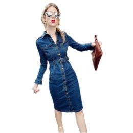 Jeans denim lunghi online-Autunno Donna Casual Denim Dress manica lunga Slim abiti femminili Jeans Abiti Retro Sexy Jeans Ladies Dress Vestido