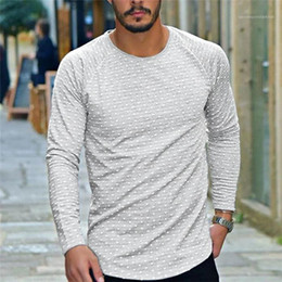 camiseta de lunares Rebajas Mens Polka Dot Long Sleeved Tshirt Spring Autumn Casual Round Neck Loose Casual Clothing