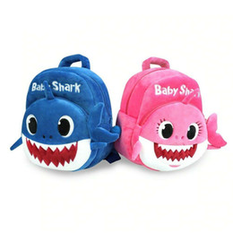 Mochilas bebê por atacado on-line-Atacado Bebê Tubarão Mochila Crianças Crianças Bonito Mochila De Pelúcia Dos Desenhos Animados Animal 3d Impressão