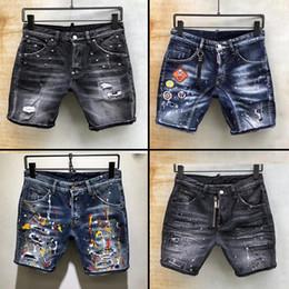 collant ricamati all'ingrosso Sconti 2019 Designer uomo moda jeans shorts Distressed Jeans strappati Jeans moto Biker Jeans HOLE Denim Pantaloni shorts