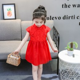 4e4b93522 Summer dress baby big red dress girl retro qipao gauze skirt child child  princess pompadour dress one year old tang suit D152