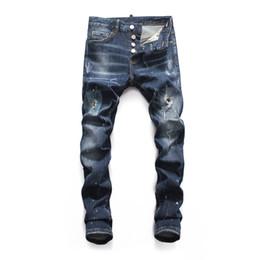 2020 Hot New Jeans High Quality Luxury Men Designer Jeans Patch Slim Paint Little Feet Locomotive Mens Jeans Size 29 40
