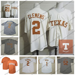 Texas baseball online-Benutzerdefinierte Texas Longhorns Baseball Jersey beliebiger Name Nummer 2 Kody Clemens 11 Herzog Ellis 44 Austin Todd 52 Zach Zubia S-4XL
