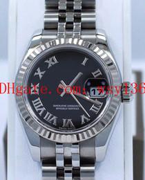Proveedores de oro blanco online-Proveedor de fábrica de lujo Datejust 179174 18K oro blanco Bisel Jubilee Dial Negro Ladies Watch 26mm Womens automático movimiento reloj de pulsera
