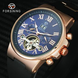 relógio de cinta de borracha roxa Desconto FORSINING Marca de Luxo Chique Esporte Ao Ar Livre Dos Homens Tourbillion Relógio Mecânico Pulseira De Borracha Mostrador Roxo Mostrador do Calendário Relógio De Pulso