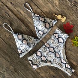 2019 schwarze spandex-baumwoll-minikleider 2019022703 Sexy Snake Print Bikini 2019 Weiblichen Badeanzug Frauen Bademode Tanga Push Up Bikinis Set Hohe Taille Badeanzüge für Badeanzug