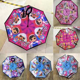 19.5-inch Unicorn ve Bebek Karikatür Şemsiye Uzun Saplı Ters Yağmur Şemsiye Windbreak Gölge Düz kutup Şemsiye T3I5120 nereden