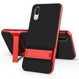 Per Huawei P20 Pro Custodia 360 Protettiva Completa Kickstand Silicone Armor Copertura Posteriore Per Huawei P20 / P20 Lite Stand Coque Capa Shell da