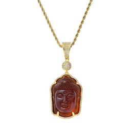 Statue del buddhismo online-collane del pendente della statua di Buddha dell'hip hop per gli uomini diamanti di lusso diamanti pendenti di buddismo placcato in oro 18k zirconi regalo di gioielli collana di rame
