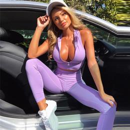 Leggings rosa morado online-Sexy cremallera de apertura aptitud de las mujeres Establece las tapas del tanque prueba de golpes y polainas delgadas de 2 pedazos rosa púrpura del chándal nave de la gota Y19042901