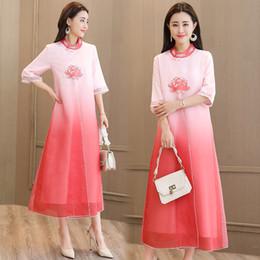 Bordado de seda de organza on-line-3xl Novas Mulheres belos vestidos de verão estilo Chinês do vintage real bordado floral elegante organza vestido de festa de seda M-XXXL