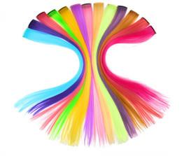 """Tira a cor do cabelo on-line-Leeons Destaque Colorido Grampos de Extensões de Cabelo Sintético Em Uma Peça Tiras de Cor 20 """"Longo Em Linha Reta Peruca Para Os Fãs de esportes"""