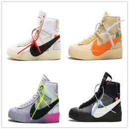 Off-White x Nike Blazer Средние кроссовки Grim Reepers в полоску Cavans THE TEN PRESTRO баскетбольные кроссовки мужчины и женщины бегают размер обуви 36-45 от
