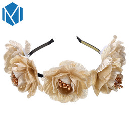 flower girl floral headpieces Promo Codes - Fashion Flower Hair Band Vintage Gold Silver Big Rose Flowers Crown Head Band Women Girl Hair Ornament Hair Hoop Party Headpiece