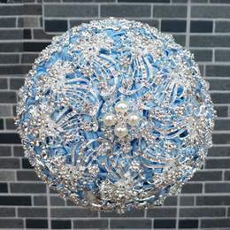 2019 decoração de bola de rosa atacado Luxuoso de Prata de Diamante De Cristal Broche De Casamento Buquê De Cristal Beading Bouquet Flores Do Casamento Bouquets De Noiva Acessórios Do Casamento