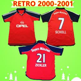 camiseta de santa cruz Desconto RETRO 2000 camisas de futebol 2,001 Bayern Munique vermelho camisas de futebol clássico Vintage SCHOLL Zickler SANTA CRUZ Götze ELBER Effenberg Wiesinger