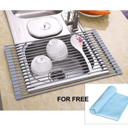 Рулонные стеллажи онлайн-Стеллажи для посуды над раковиной Многоцелевой коврик для сушки посуды Roll-Up Защита от ржавчины с сушилкой для ткани Кухонная утварь и приборы