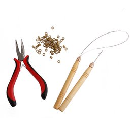 Pro Micro extensiones de cabello Anillos Perlas Alicates Gancho Lazo Herramientas de aguja Juego completo desde fabricantes