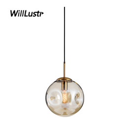 Lampadario in vetro di fumo online-Nordic Glass Pendant Lamp Smoke Cognac Suspension Lighting Hotel Restaurant Bar Cafe Bakery Shop Bedroom Light Luxury Chandelier