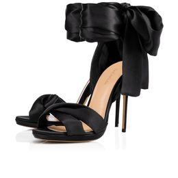 bronzebogenbindungen Rabatt Frauen Sommer Sandalen Santin Stoff High Heels Abend Hochzeit Kleid Schuhe 2019 Elegante Stilvolle Sweet Red Bow gebunden Nacht Schuhe