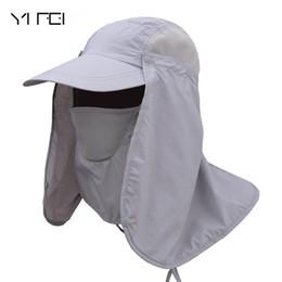 máscara de sombrero de sol de hombres Rebajas Hombres Mujeres Protección Cap cuello de la cara de la aleta protector solar sombrero pescador Sombrero Máscara de Sun del casquillo al aire libre profesional de verano sombreros de Sun