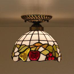 8 pulgadas creativo vidrieras patrón de frutas sombra lámpara de techo baño luz de techo luces de la sala balcón pasillo LED Plafonnier desde fabricantes