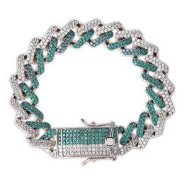 платиновые браслеты для мужчин Скидка Мятно-зеленый Мужская хип-хоп полный Алмазный камень Куба Цепь Браслет платиновым покрытием Геометрическая форма браслет