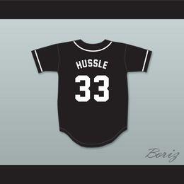 2019 jersey de béisbol de franela Venta al por mayor descuento barato Nipsey Hussle 33 Crenshaw Jerseys de béisbol negro para hombre Jersey cosido tamaño S-XXXL envío gratis