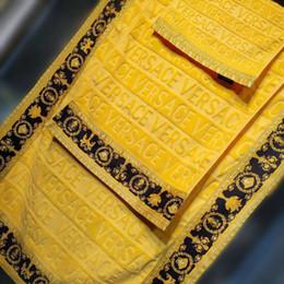 Toallas de lujo online-Toallas de baño de lujo Marca de impresión de señalización marca toalla de playa toalla de playa y toalla de baño juego de 3 piezas 100% Egipto espesar algodón 2019 nuevo