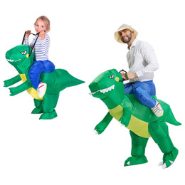 dino dinosaur Coupons - cosplay costumes Inflatable Dinosaur Costume Fan Operated Adult Size Halloween Carnival Party Cosplay Animal Dino Rider