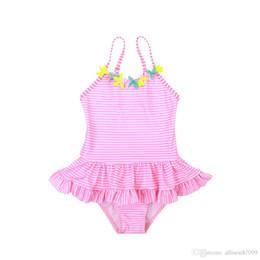 Argentina Niños lindos Traje de baño Traje de baño Traje de baño de una pieza Flores al por mayor Pink Striped Body Petal falda Exportación 2019 Boutique de verano Suministro