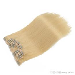 Extensión de la pinza de pelo superior online-Clip de calidad superior en extensiones de cabello humano Brasileño de la Virgen, 7pcs set 100g de onda recta color rubio pinzas de pelo, libre de DHL