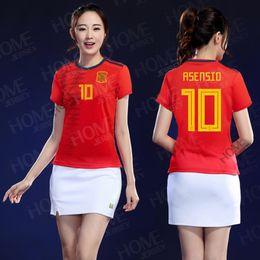 2019 camisolas uniformes mulheres Nova espanha Mulheres Jerseys 2019 copa do mundo Espanha casa camisa de futebol 19 20 ladys camisa de futebol espanha casa camisa de futebol vermelho uniforme de futebol camisolas uniformes mulheres barato