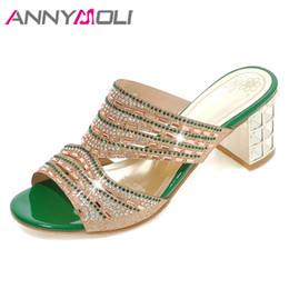 ANNYMOLI Designer chaussures femmes luxe nouvelles femmes diapositives cristal épais talons hauts chaussures à bout ouvert pantoufles été or grande taille 4-11 ? partir de fabricateur