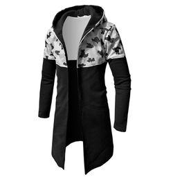 Длинные вечерние пальто онлайн-Pop2019 и рисунок камуфляж орфографии цвет длинный фонд человек прохладный время свитер тонкий даже шляпа свободные пальто