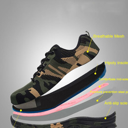 footwear construction Promo Codes - Yadibeiba Work Boots Construction Men's Outdoor Steel Toe Cap Safety Shoes Camouflage Breathable Outdoor Sneakers Work Footwear