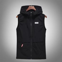sweat à capuche coréen Promotion Casual Gilet Coréen Vestes Sans Manche Mens Cool Gilet Hoodies Printemps Gilet Automne Manteaux Grandes Tailles M-4XL Zipper